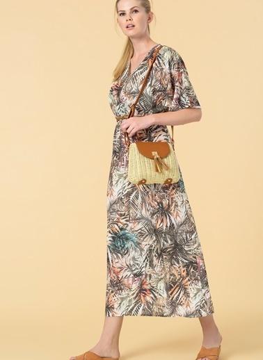 Knit&Co Çiçek Desenli Elbise Yeşil
